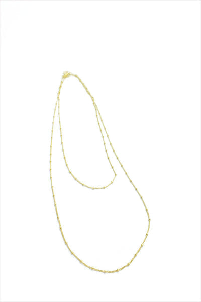 Beaded Gold Chain Necklace