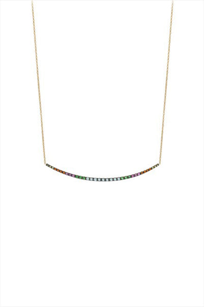 Rainbow Multi Color Blue In The Middle Necklace