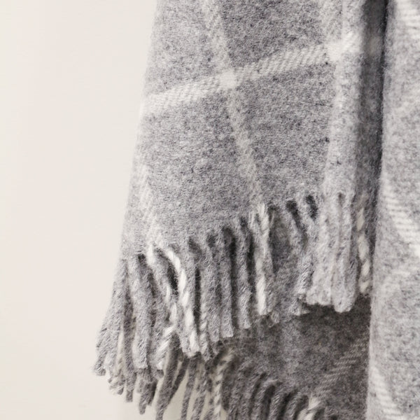 Wool Throw in Grey Check