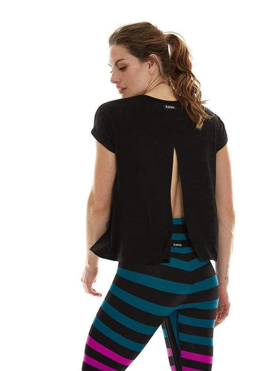 Split Back Tee in Black - JERSEY TOP