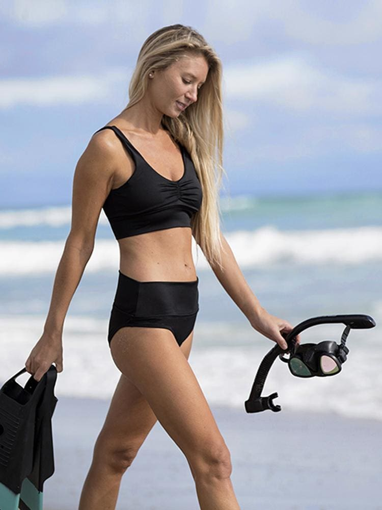 Long Line Bikini Top in Black