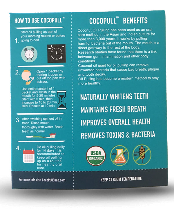 cocopull oil pulling for teeth whitening, fresh breatj. Learn how to oil pull.