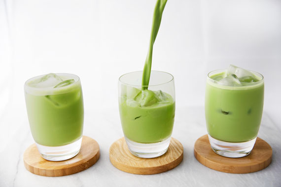 Pour iced matcha latte Encha with oat milk