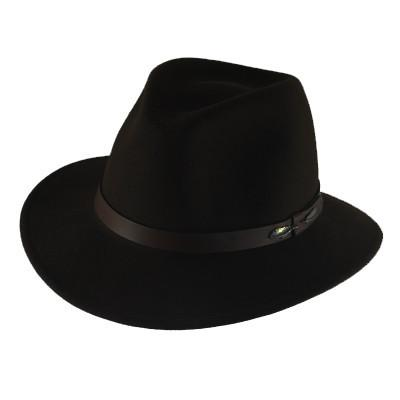 "The ""Outback"" in Black - Adventurer's Fedora Bison Gear The Buffalo Wool Co. Small"