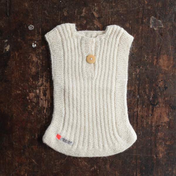 Hand-knitted Alpaca Rib Vest -Natural - 0m-6y