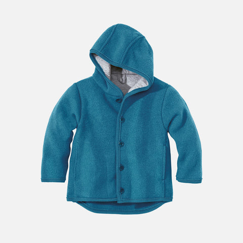 Organic Boiled Merino Jacket - Teal Blue - 6m-5y