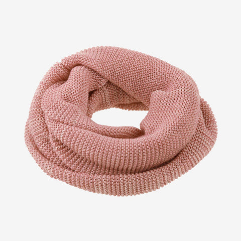 Adult Organic Merino Melange Loop Scarf - Rose, Curry & Anthracite