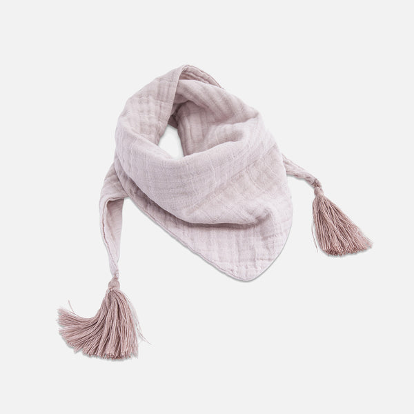 Cotton Muslin Misha Scarf with Pompons - Rose