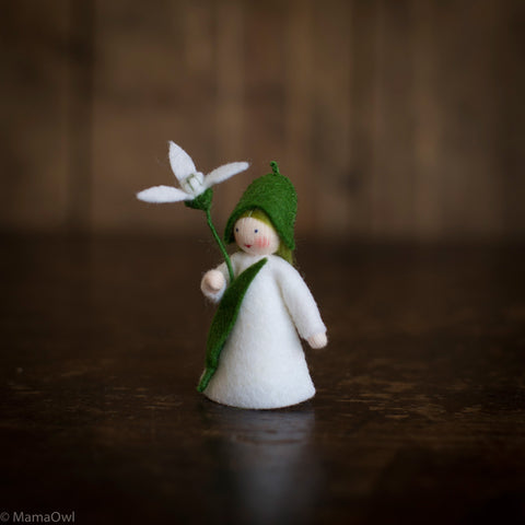 Handmade Small Wool Fairy Holding Flower - Snowdrop