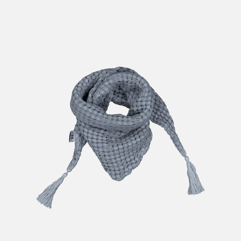 Cotton Honeycomb Misha Scarf with Pompons - Stone