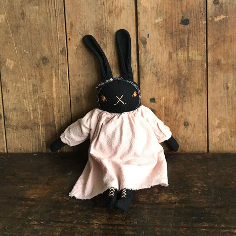 Handmade Cotton Medium Silk Dress Rabbit - Black/Pink