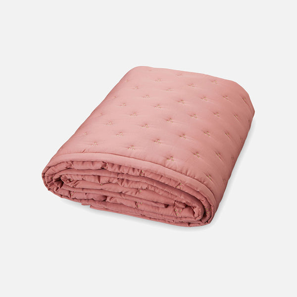 Organic Cotton Baby Quilt Gold Dot - Blush