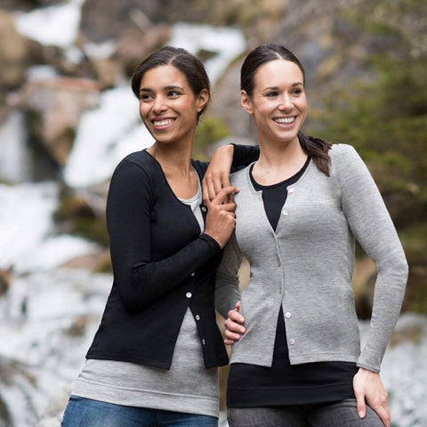 Organic Silk & Merino Wool Women's Cardigan - Grey