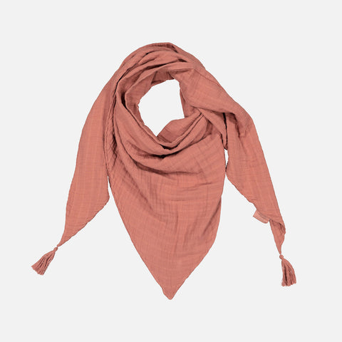 Adult's Cotton Misha Scarf with tassels - Terracotta