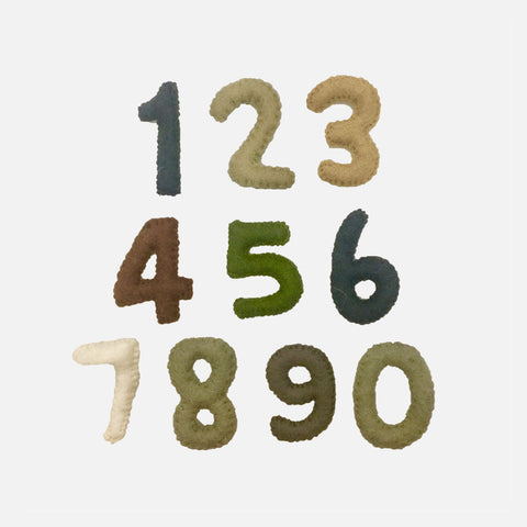 Felted Wool Numbers - Natural