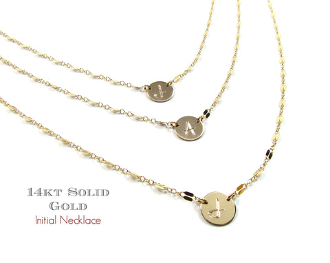 14K Engravable Initial Necklace