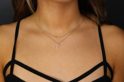 14K Diamond Moon And Star Necklace