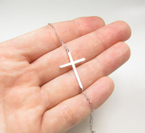 14KT Solid Gold Large Sideways Cross Necklace