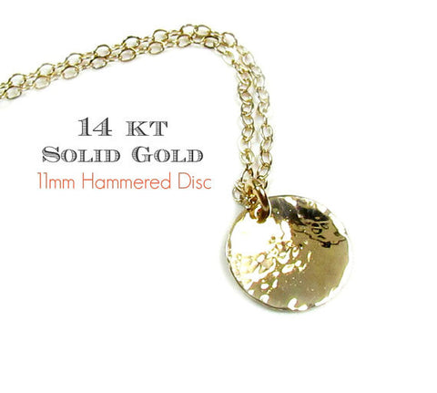 14KT Solid Gold Hammered Disc Engraved Necklace
