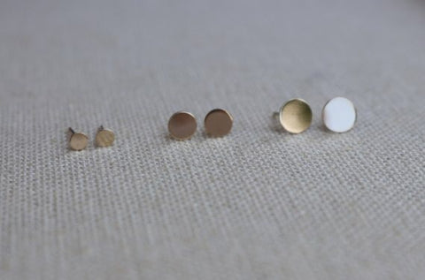 14KT Dots Of Gold - Circle Stud Earrings