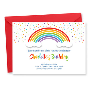 Rainbow Birthday Party Printable Invitation by Tumbleweed Press.