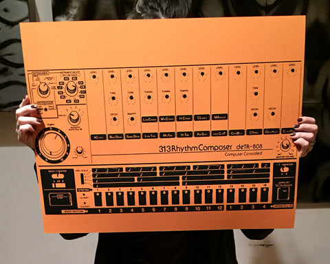 808 Art Print, Vintage Drum Machine Poster