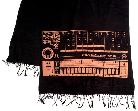 808 Drum Machine scarf, linen-weave pashmina