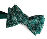 green atomic print bow tie