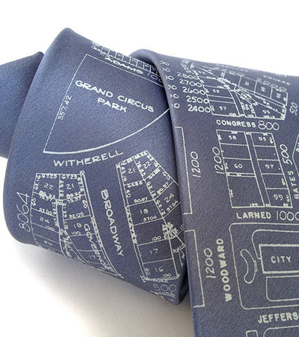 Detroit Map Tie, Campus Martius Necktie