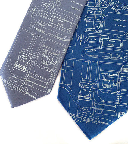 Detroit Map Necktie, Campus Martius Silk Tie