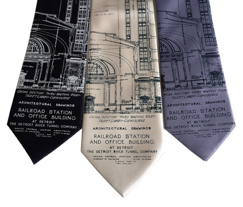 Blueprint Necktie: Detroit Train Station Silk Tie