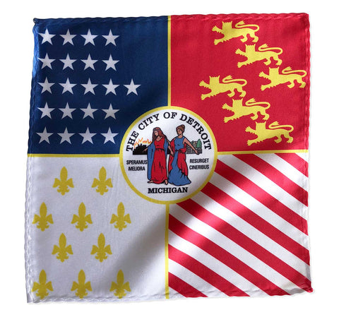 Detroit City Flag Pocket Square