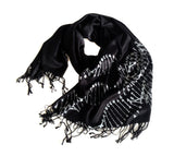 DNA scarf: silver on black