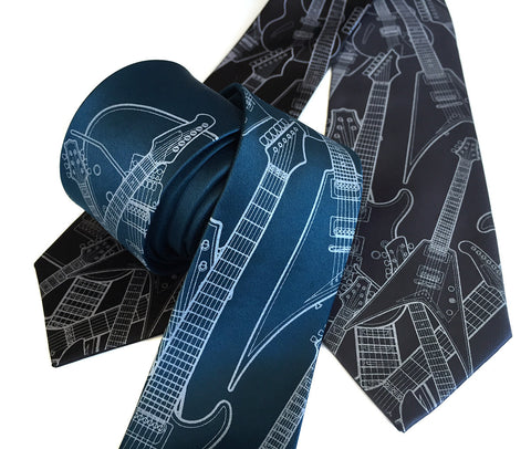 Electric Guitar necktie. Retro guitars tie