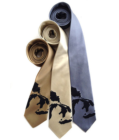 Great Lakes Map Silk Necktie