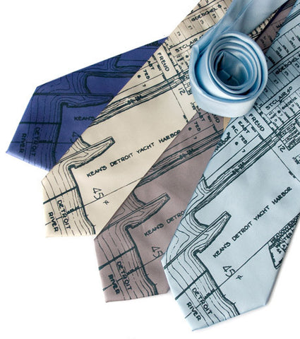 Detroit Map Necktie, Detroit River & Marina Tie