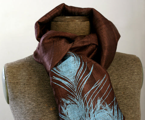 Peacock Feather Silk Scarf