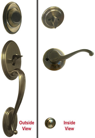 Antique Brass Front Door Handle Set Dummy - Style 835AB