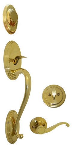 Polished Brass Front Door Handle Set Dummy - Style 835PB