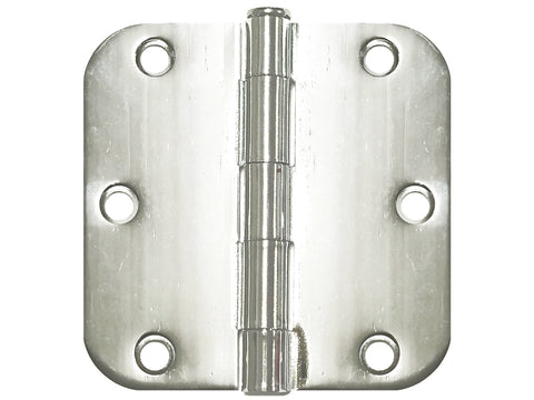 "Polished Chrome 3 1/2"" Door Hinges 5/8"" Radius"