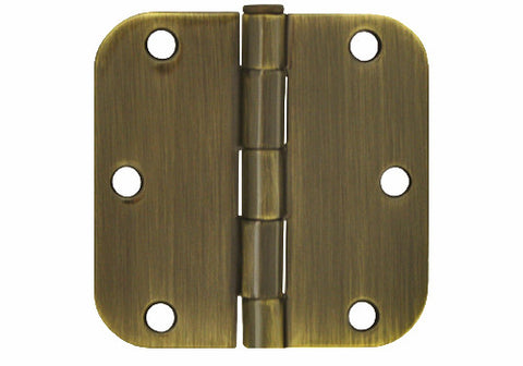 "Antique Brass 3 1/2"" Door Hinges 5/8"" Radius"