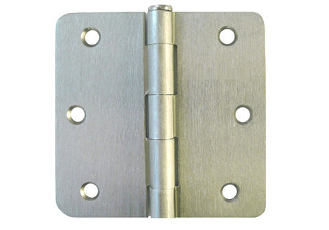 "Satin Nickel 3 1/2"" Door Hinge 1/4"" Radius US15"