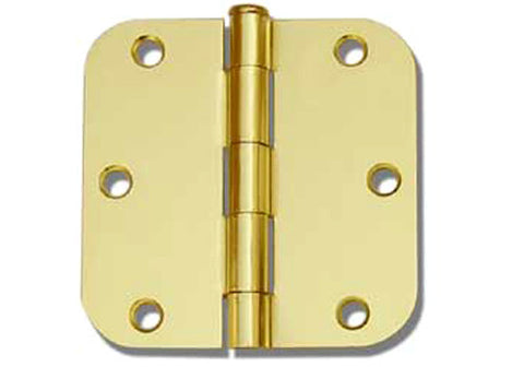 "Polished Brass 3 1/2"" Door Hinges 5/8"" Radius US3"