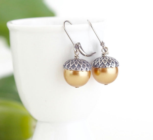 Acorn Jewelry Gift Set - Gold Pearls / Antique Silver Brass - Jacaranda