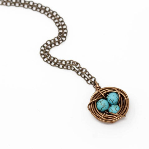 Dark Turquoise Bird Nest Necklace - Small - Jacaranda