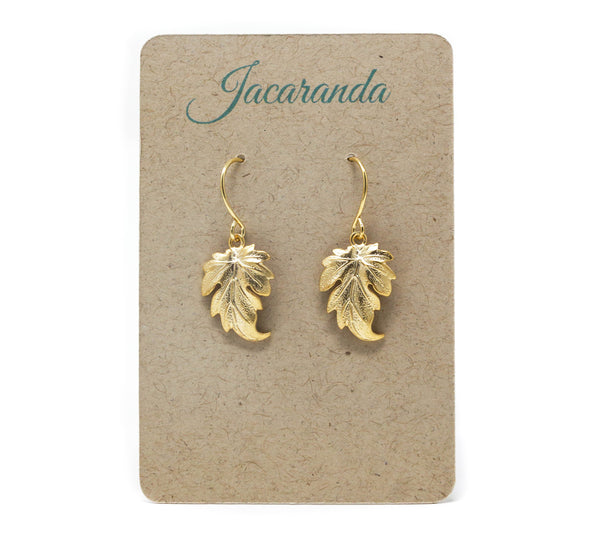 Gold Leaf Dangle Earrings - Perfect Jewelry For The Nature Lover - Jacaranda