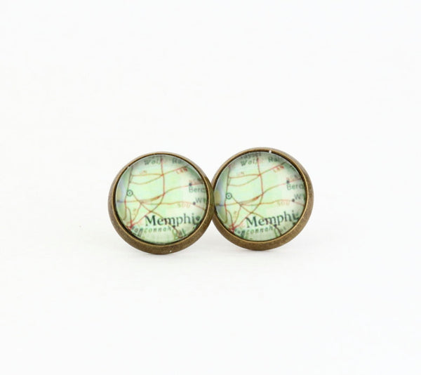 Memphis Map Post Earrings - Jacaranda
