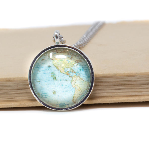 North and South America Map Pendant Necklace - Jacaranda