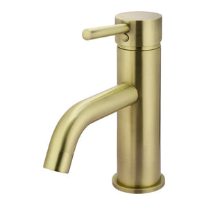 * Meir Basin Mixer with Curved Spout - Tiger Bronze