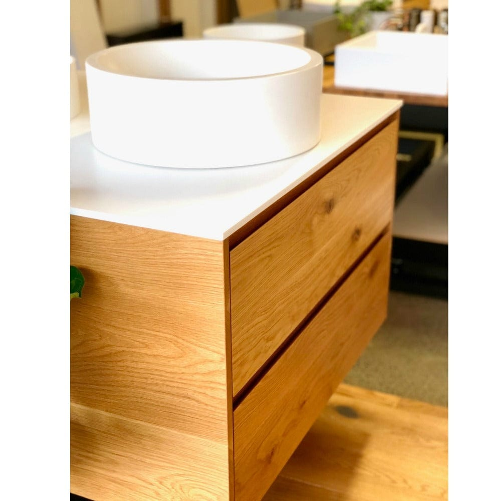 * Rose & Stone - Rustic American Oak vanity with Corian top - 900mm